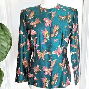 Vintage 80's Green Butterfly Jacket